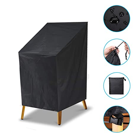 Astounding Nasum Stacking Chair Cover Seat Cover Waterproof Reclining Garden Chairs Protective Cover Patio Outdoor Furniture Covers 65 X 65 X 120 80 Cm Pvc Short Links Chair Design For Home Short Linksinfo