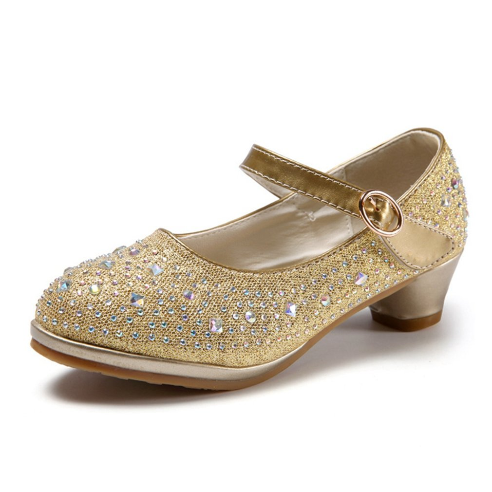 CYBLING Kids Dress Shoes Girls Glitter Rhinestone Low Heel Mary Jane Pumps (Toddler/Little Kid/Big Kid)