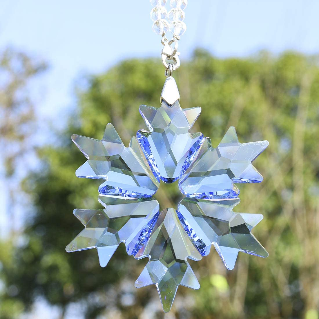 Blue/&Purple Christmas Snowflake Ornaments Hanging Crystal Pendants Tree Decor 2x