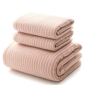 LLFFDC Juego de Toallas de Baño de 3 Piezas, 100% Algodón, Toallas Absorbentes Suaves para Baño, Piscina, Calidad de Hotel,Pink: Amazon.es: Hogar