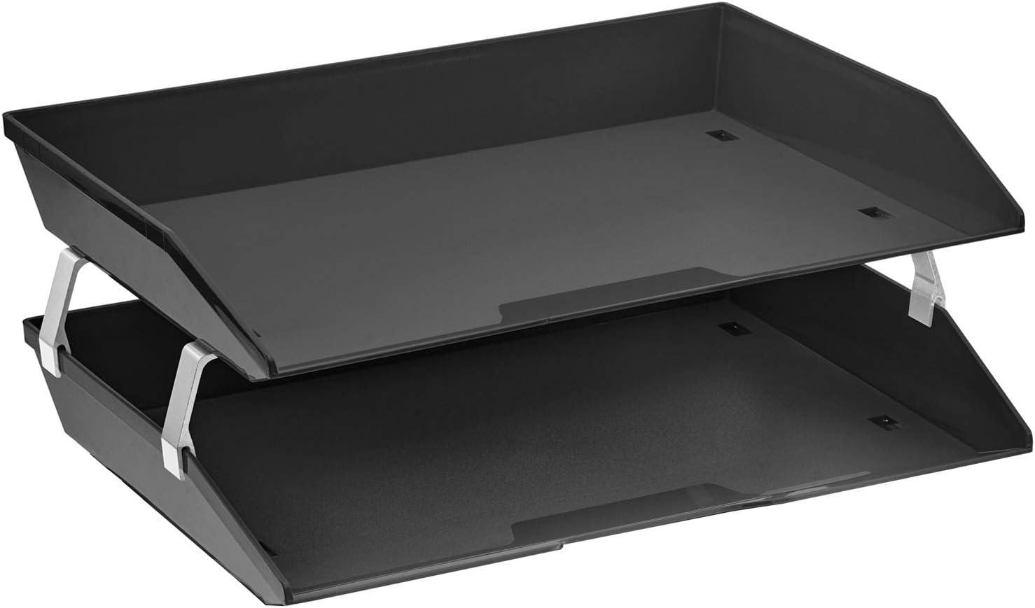 Acrimet Facility 2 Tier Letter Tray Side Load Plastic Desktop File Organizer (Black Color)