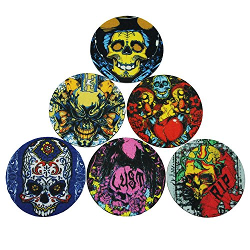 Coasters Set of 6 Colorful Skull Absorbent Moisture and Non-Slip Coaster for Drinks - Desktop Protection Prevent Furniture Damage - Tabletop Drink Coasters