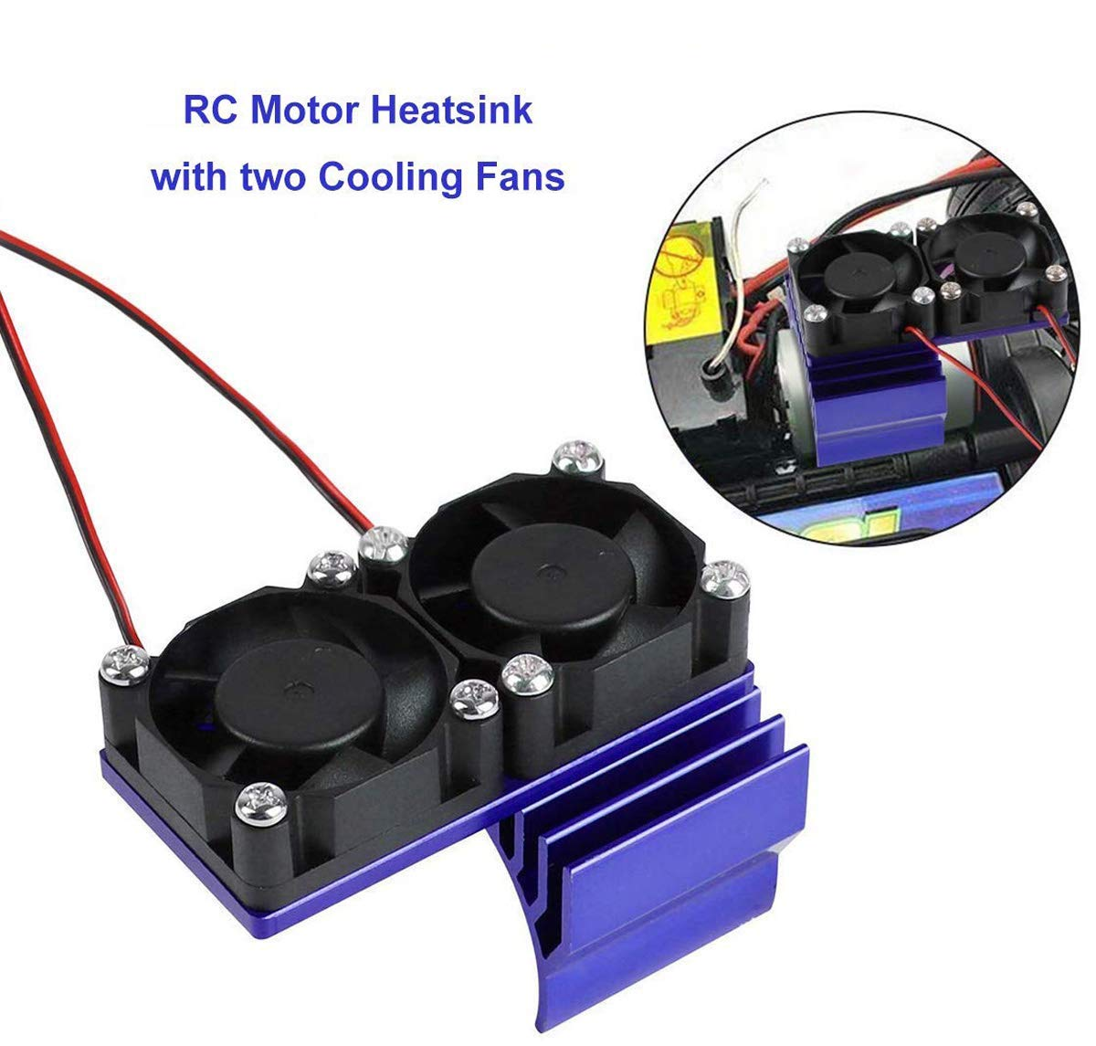 Innovateking RC Motor Heatsink with Double Cooling Fans 30mm 5V 0.1A Aluminum Heat Sink for 1/8 1/10 RC Car 540 550 Size Motor (Dark Blue)