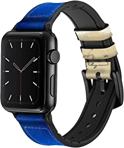 CA0123 Relax Beach Leather & Silicone Smart Watch Band Strap for Apple Watch iWatch Size 38mm/40mm