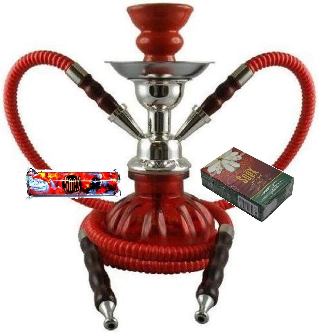 Small RED 2 Hose Hookah for Shisha Smoking Pipe with 1 Roll of Soex Charcoal Coal and 1 Box of Soex Double Apple 50 gr Herbal Shisha - no Tobacco no Nicotine