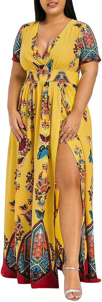 Vestidos de Moda para Mujer Más tamaño Mariposa Impresa con Cuello en v Manga Corta Vestido Largo Ocasional A: Amazon.es: Ropa y accesorios
