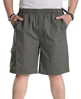 f28bc4a8f4 YangguTown YGT Mens Loose Cotton Cargo Shorts Overall Elastic Waist Twill  Pants