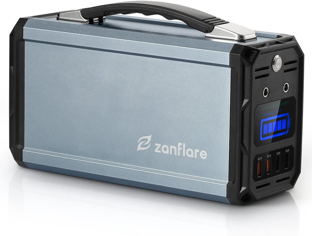 Zanflare Portable Generator, 300W 222Wh Portable Power Station, Dual 120V AC Outlets, 3 DC Ports, 4 USB Ports, Solar Generator for Outdoors Camping Travel Fishing Emergency