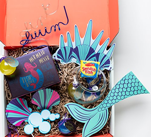 Merman Costume Ideas (Mermaid Party Punch Gift Box by Thoughtfully Gifts A Lady- Fish Fete Themed Gift Set with Fish Bowl for Serving Punch, Crazy Drinking Straws, Photo Booth Picture Props & Swedish)