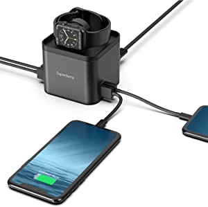 SUPERDANNY Wireless Charger, 5 in 1 Metal USB Charging Station with Phone Holder & iWatch Stand Compatible with Apple Watch Series 5/4/3/2/1(44/42/40/38mm), iPhone X/XR/11, iPad, Samsung Galaxy, LG