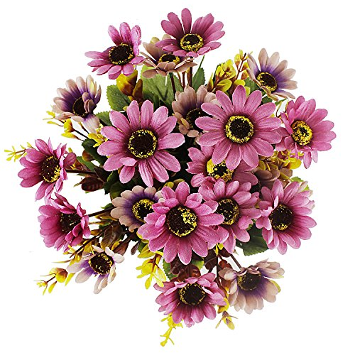 Artificial Lifelike Silk Gerbera Daisy Arrangements,Fake Flower Bouquet 7 Stems/Bunch,2 Bunches Home Wedding Party Floral (White Gerbera Daisies)