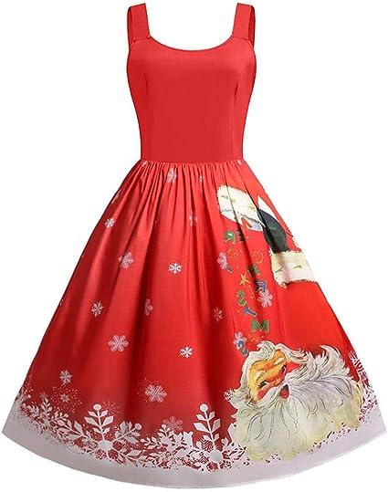 Vestido navideño para mujer, bonito vestido de Navidad, sin mangas ...