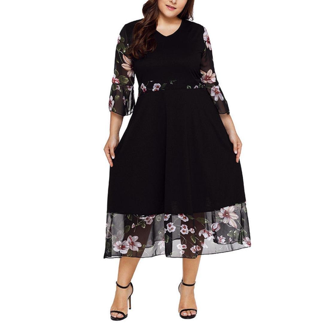 Snowfoller Elegant Women V Neck Wrap Chiffon Dresses Plus Size Bohemian Floral Long Sleeve Summer Long Dress for Dating Party (XXL, Black)