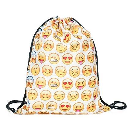 amazon com emoji drawstring backpack school backpack cute