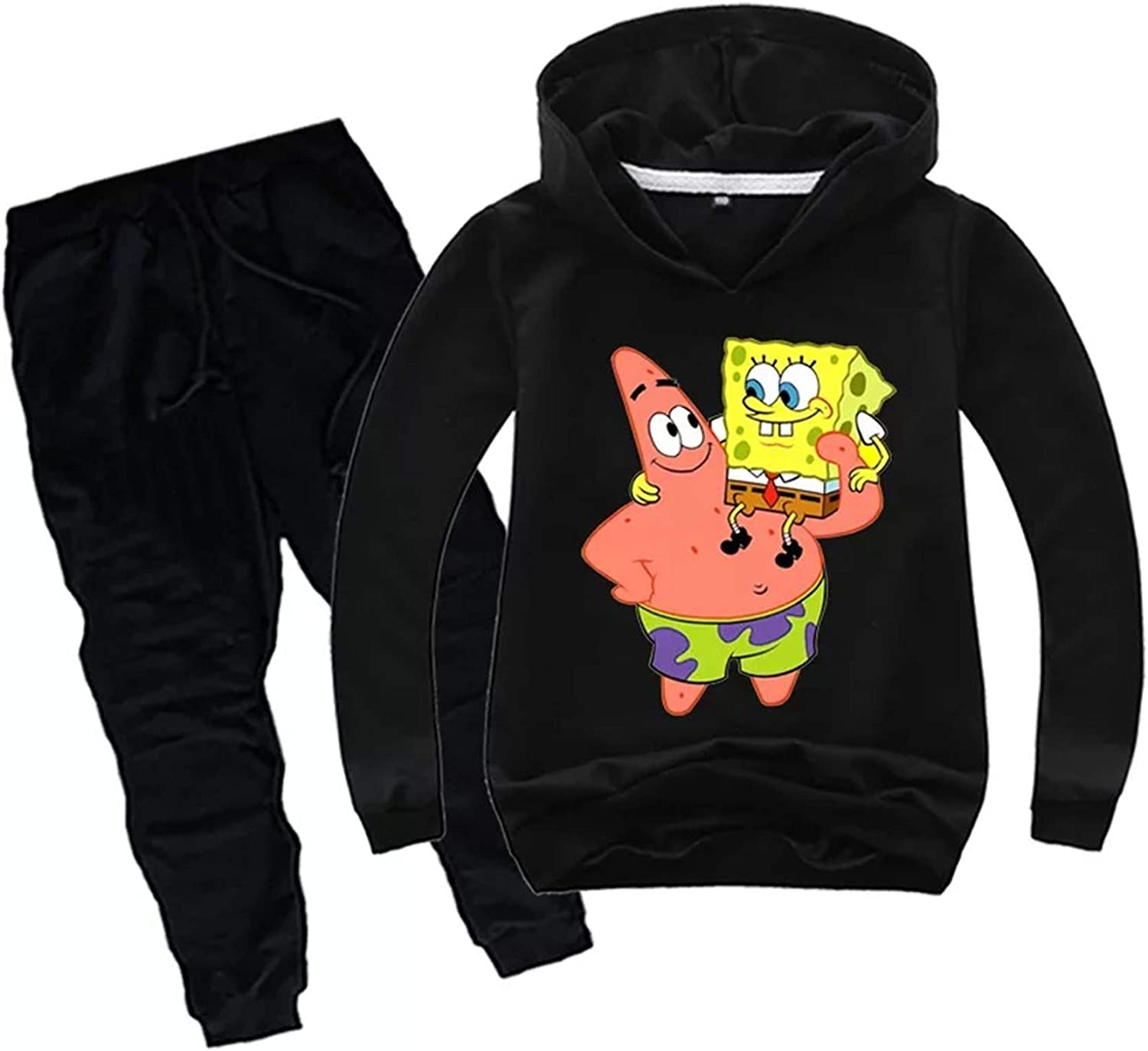 Gin-back Kids Toddlers Spongebob Pullover Hooded Sweatshirts-Fleece Long Sleeve Casual Hoodies for Youth