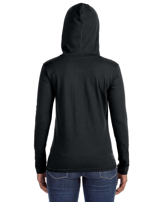 Black t shirt hoodie - Amazon Com Anvil Ladies Ringspun Long Sleeve Hooded T Shirt Black Dark Grey Small Sports Outdoors