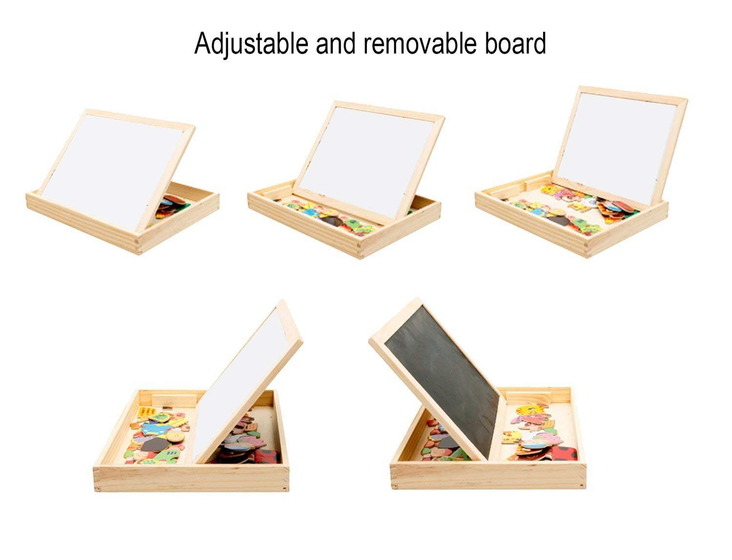 Lewo Wooden Educational Toys Magnetic Double Side Drawing Board Game Easel Blackboard Jigsaw Puzzle Games for Kids