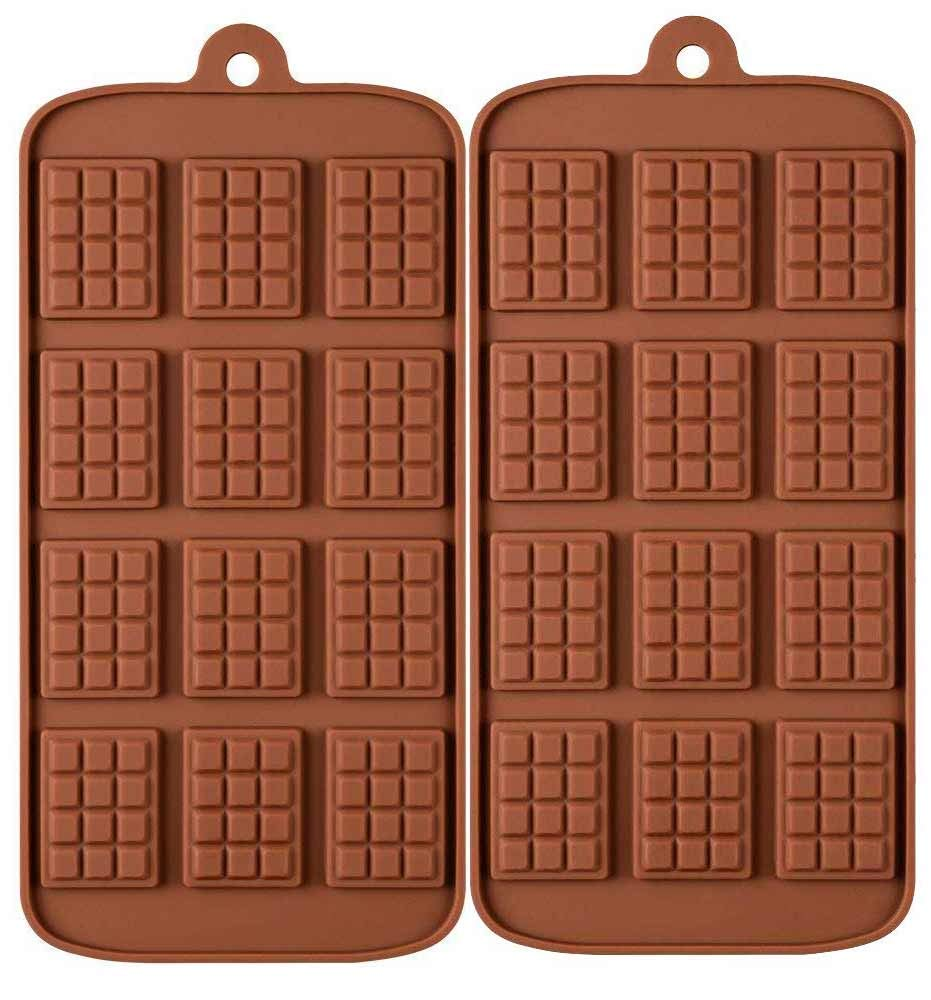 2 Pack 12-Cavity Silicone Mini Rectangle Thin Waffle Chocolate DIY Mold Break-Apart Chocolate Chip