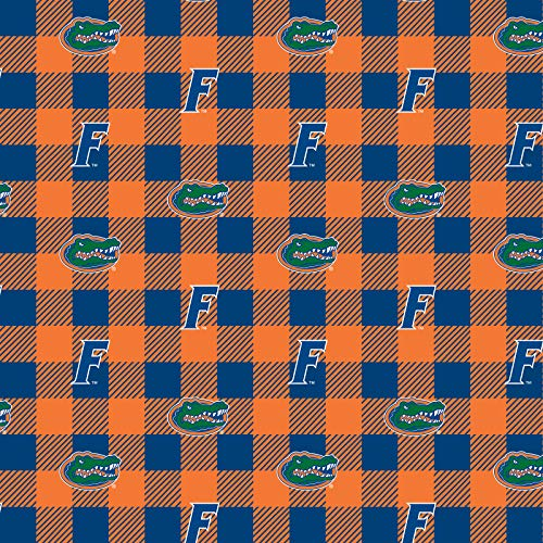 - University of Florida Fleece Blanket Fabric-Florida Gators Fleece Fabric with Buffalo Plaid Design