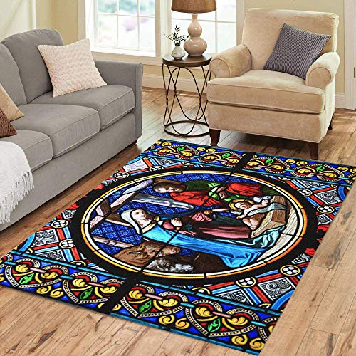 Pinbeam Area Rug Nativity Scene Stained Glass Window in The Cathedral Home Decor Floor Rug 5' x 7' Carpet]()