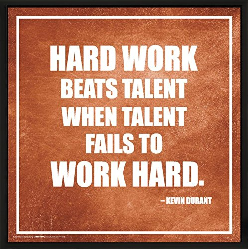 Culturenik Kevin Durant Work and Talent Inspirational Motivational Sports Basketball Icon Quote Print (Framed 12x12 Poster)