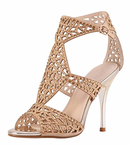 71f339f93d2f5c Jiu du Women s Cutout Stiletto High Heel Peep Toe Bootie Rhinestone Sandals  Apricot Velvet Size US5