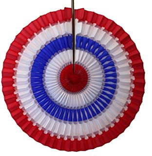 product image for Devra Party 6-Pack 16 Inch Striped Patriotic Honeycomb Tissue Paper Fan (Red/White/Blue)