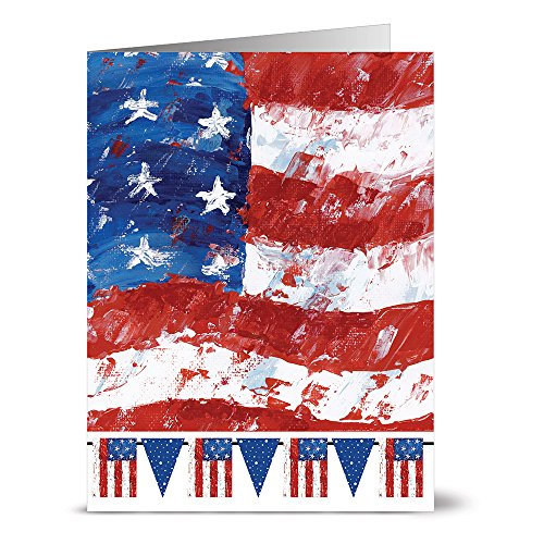 (Flag and Pennants - 36 Note Cards - Blank Cards - Red Envelopes Included)