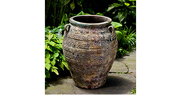 Campania International 6603 4201 Tavira Jar Angkor Green Mist Finish Garden Outdoor