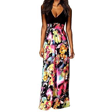 6504fdbfd722 Women Boho Maxi Beach Long Dress Sleeveless Sexy V Neck Cocktail Party  Floral Dress at Amazon Women s Clothing store