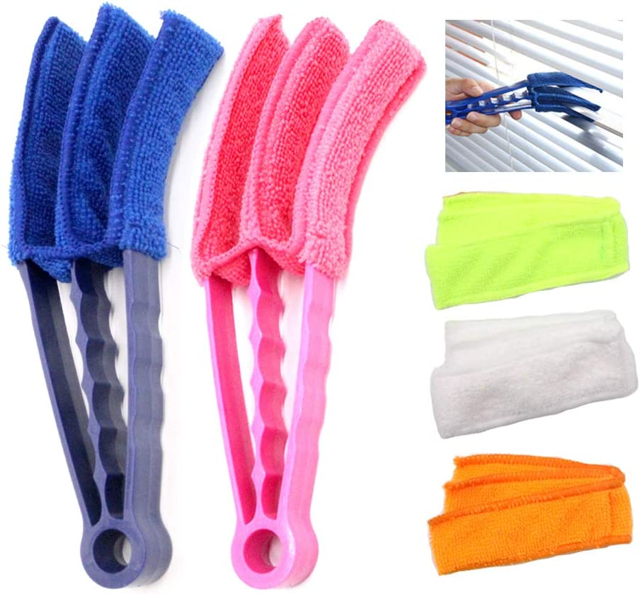 GMAXT Window Blind Cleaner,Duster Brush With 2 Clamps and 5 Removable Sleeves-Blind Cleaner Tools For Blinds, Shutters, Shades, Air Conditioner Vent Covers, etc.-Quick, Easy, Washable, Reusable - Firm