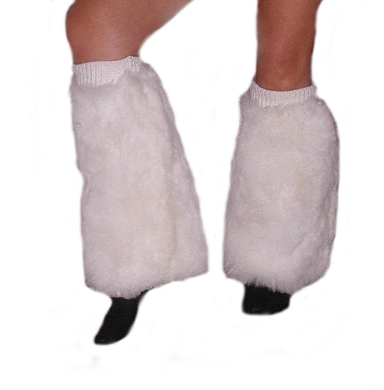 Alpacaandmore Lange Damen Fell Beinwärmer Pelz Stulpen Beinstulpen Legwarmer schwarz und weiß