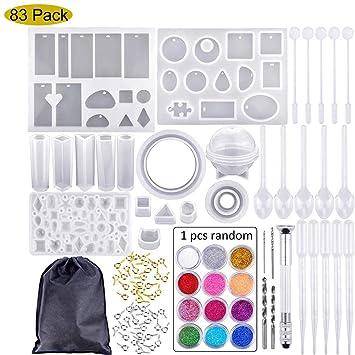 Mioloe Kit de moldes de fundición de resina, 83 piezas Molde de resina epoxi de silicona para la fabricación de joyas de bricolaje Molde de elaboración: ...