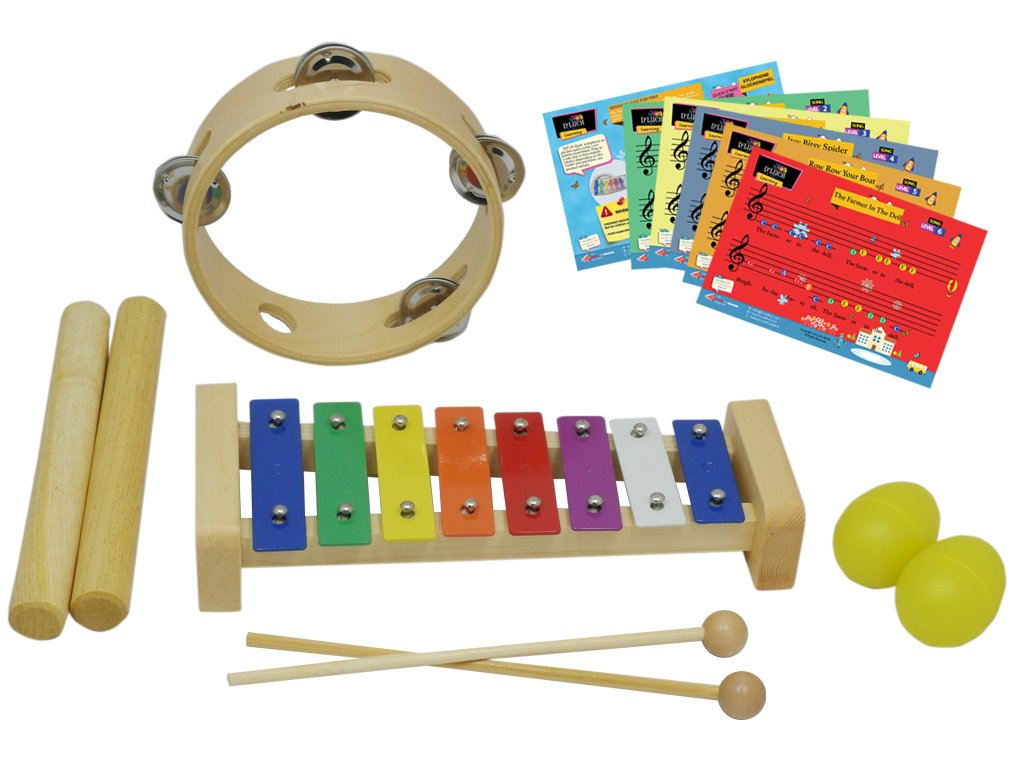 D'Luca ZQ-4 Percussion with Glockenspiel, Music Cards, Tambourine, Sticks & Egg Shakers, 4 Pack by D'Luca