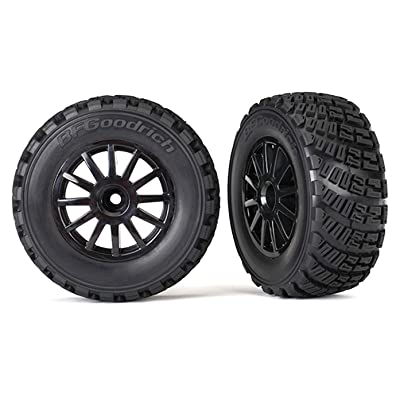 Traxxas 7473T Pre-Glued Black Wheels with Gravel Pattern Tires, TSM Rated (Sold As Pair) Vehicle: Toys & Games