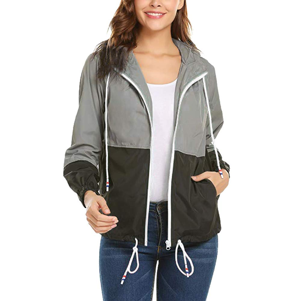 TOOPOOT Women Hooded Zipper Patchwork Jacket Long Sleeve Slim Fit Cardigan