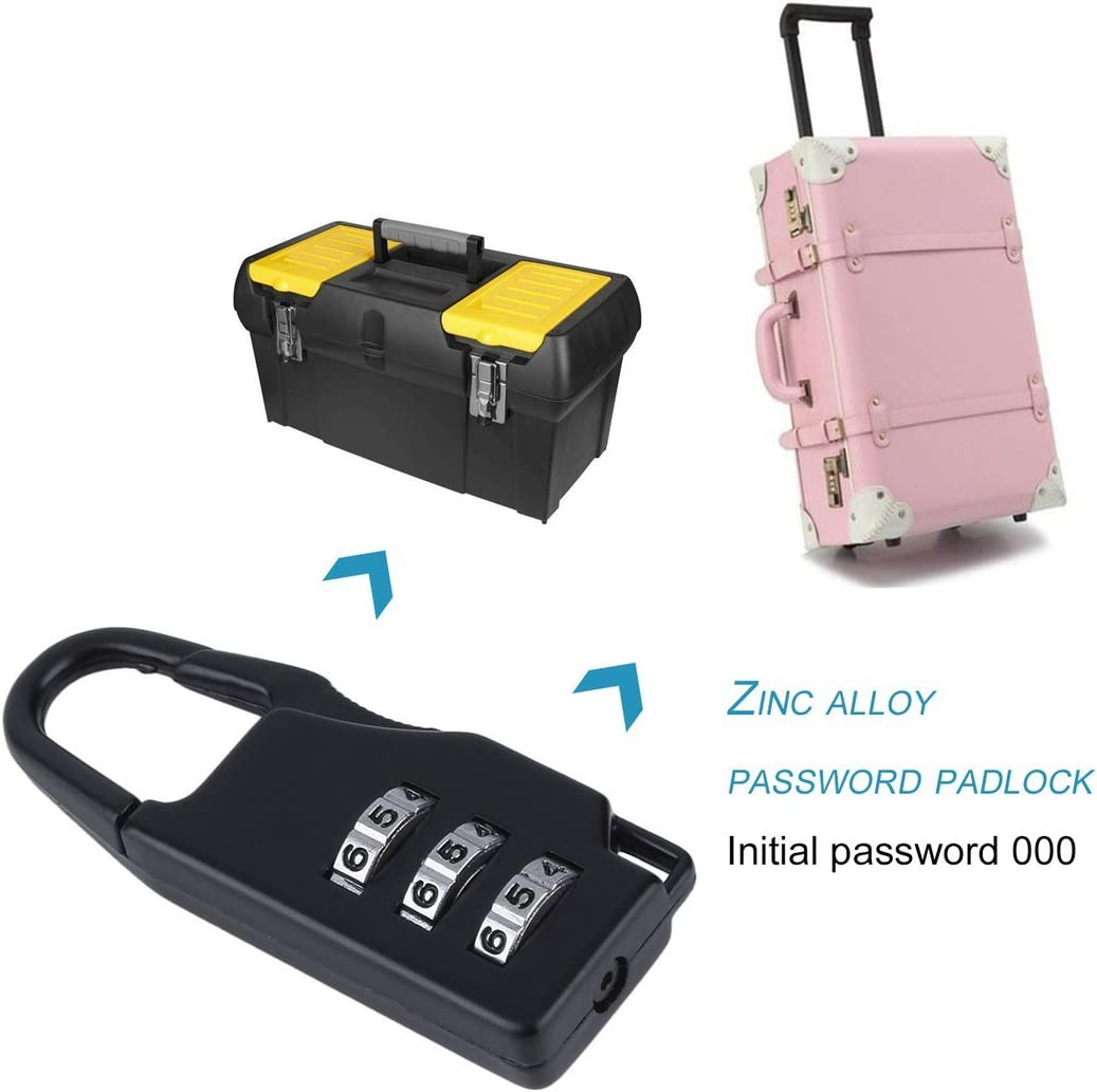 1 pc New Security 3 Combination Travel zinc Alloy Suitcase Luggage Bag Jewelry Boxes Tool Chests Code Lock Zipper Padlock Color:Blue