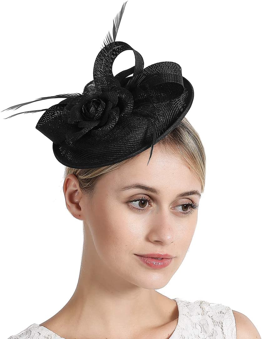 Women Fascinator Hat Feather Hair Clip Flower Pillbox Hats for Wedding Party Royal Ascot