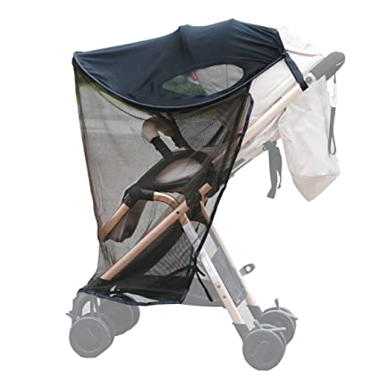 ZEEUPAI - Parasol plegable protector contra sol toldo de material lycra sombrilla universal con mosquitera para silla de paseo cochecito carrito de ...