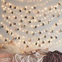 Decdeal Cordão de luzes de LED com prendedores para fotos, 5 m, 50 LEDs, prendedor de foto, USB, luzes decorativas que…