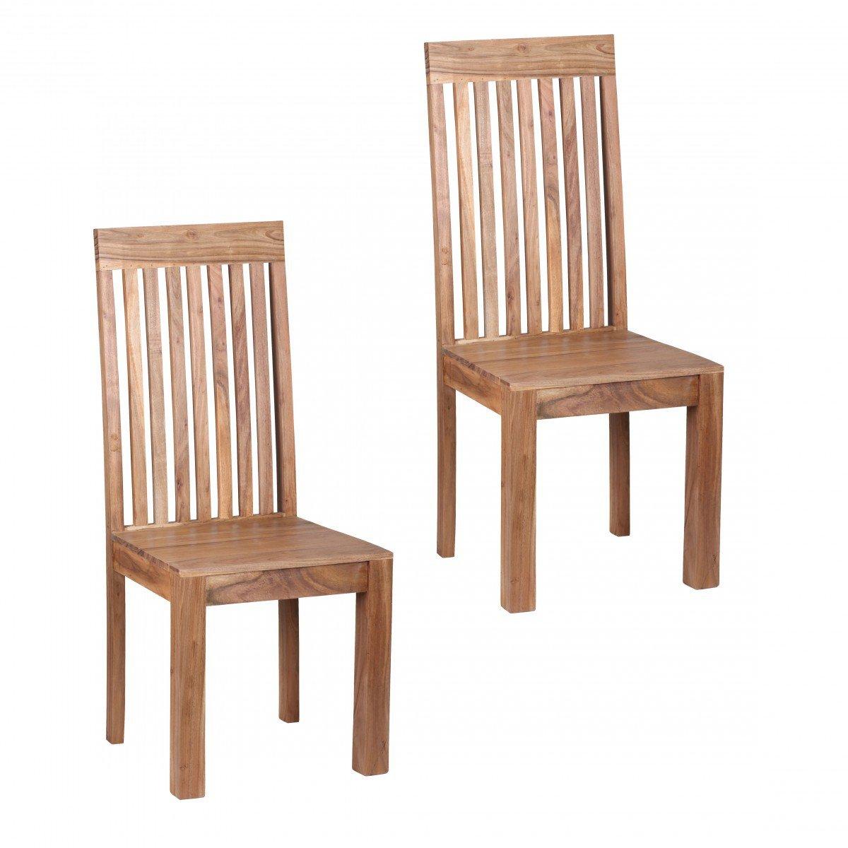 FineBuy Esszimmerstühle 2er Set Massiv-Holz Akazie Küchen-Stühle ...