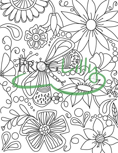 FrogLilly Doodle Art Adult Coloring Book - Unique Lay Flat Pages - Travel Size for Relaxation & Stress Relief - 50 Floral, Nature, Animal and Holiday Designs Photo #6