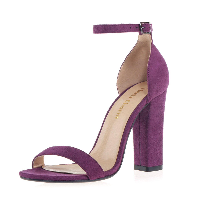 Velvet Purple Heels Charm Women's Strappy Chunky Block High Heel Open Toe Heeled Sandals Ankle Strap Dress Sandal