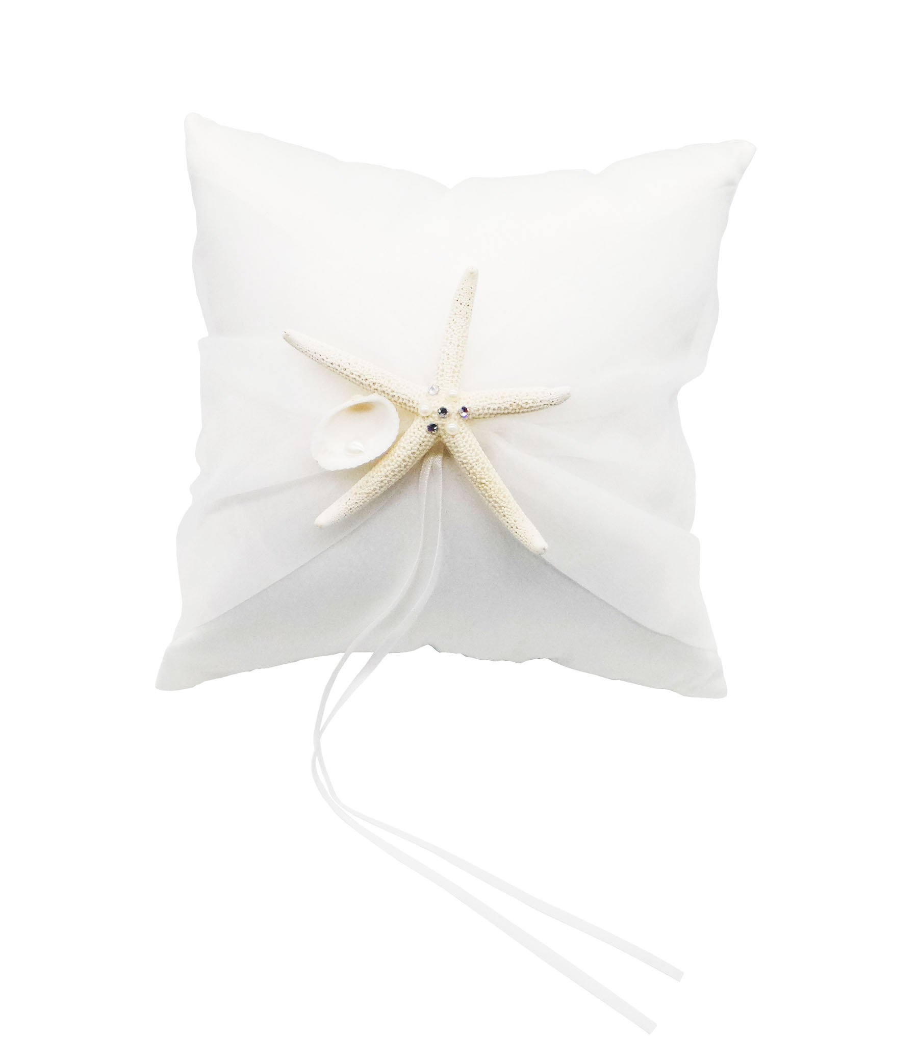 Yunko Starfish Shells Sea Style Beach Party Wedding Satin Ring Bearer Pillow 8''X 8'' by YunKo