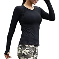 Azornic Womens/Ladies Sports Gym Yoga Tops Quick-Dry Long Sleeve Slim Performance T-Shirt Sweatshirt