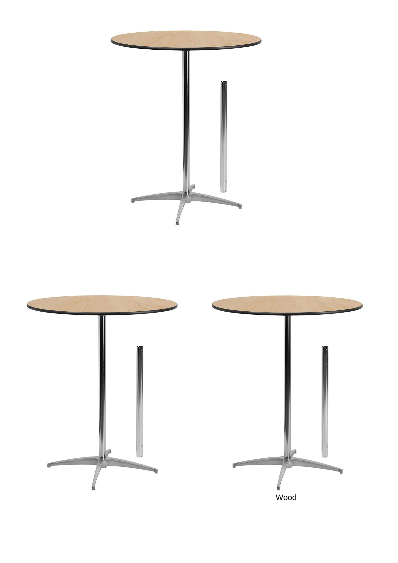 Flash Furniture 36'' Round Wood Cocktail Table with 30'' and 42'' Columns (3 Pack,36-Inch)