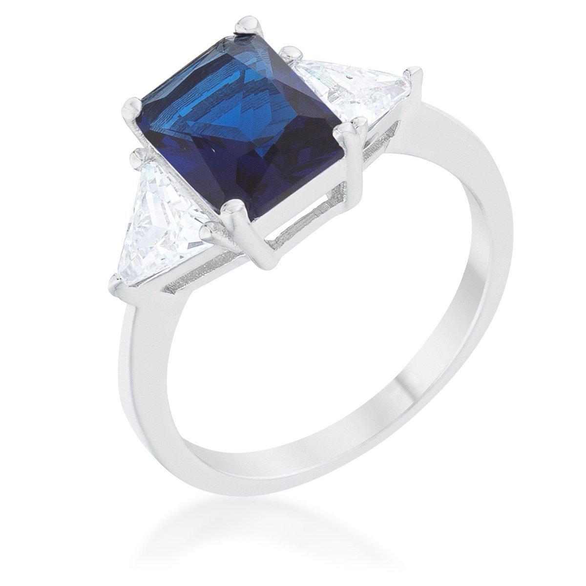 WildKlass Classic Sapphire Rhodium Plated Engagement Ring