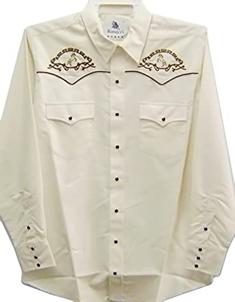 Modestone Mens Embroidered Long Sleeved Fitted Western Camisa Vaquera Filigree Horses Beige: Amazon.es: Ropa y accesorios