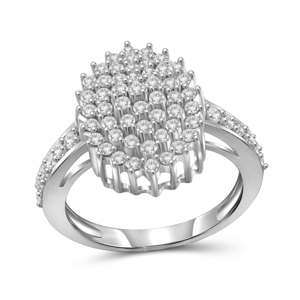 1.00 Carat T.W. White Diamond Sterling Silver Oval Cluster Ring