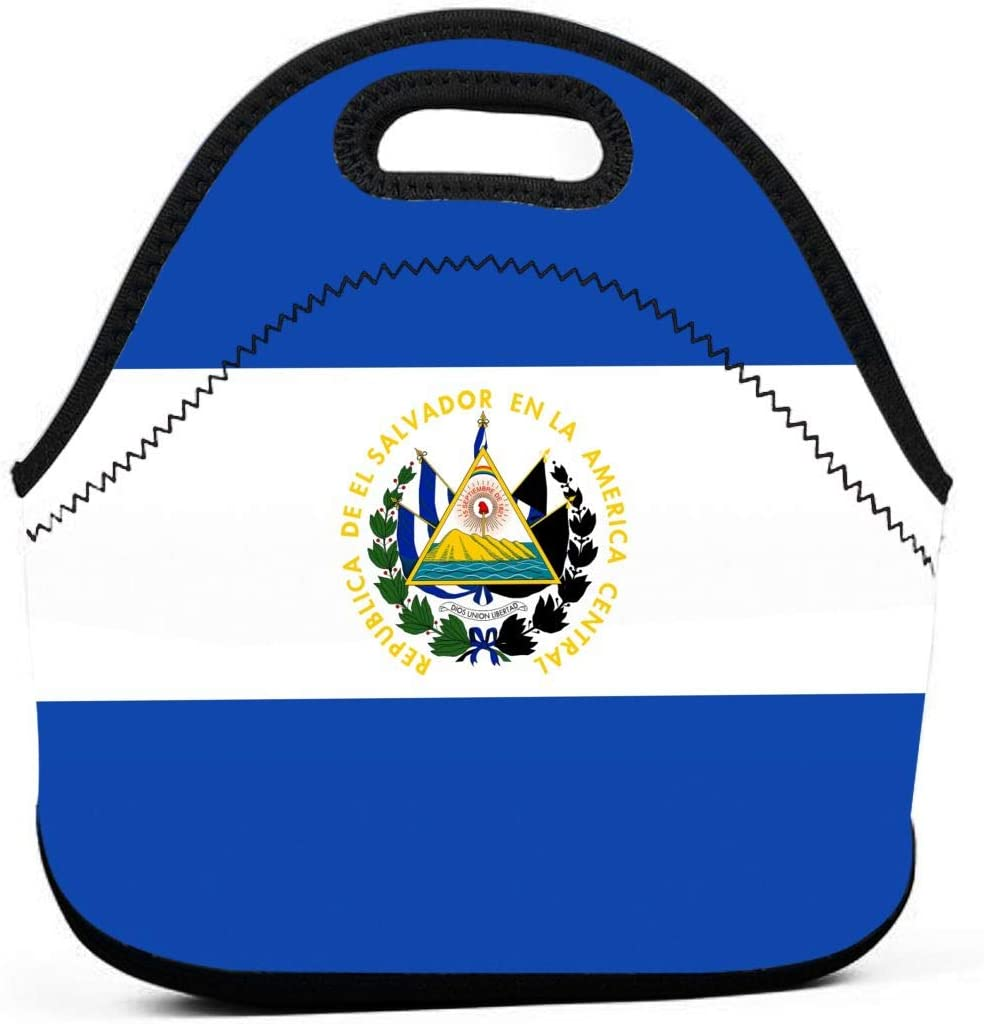 WONDERMAKE Women Men Kids El Salvador Flag Lunch Bags Insulated Zip Thermal Cooler Bag Portable Meal Package Lunch Box Package Picnic Outdoor Travel Fashionable Handbag Pouch